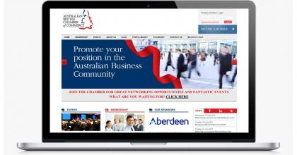 Australian British Chamber of Commerce drupal website showing the homepage, business directory and membership access
