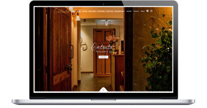 Entrata Restaurant wordpress website detailing their restaurant location and menu
