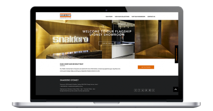 Snaidero Kitchens drupal website showing banner promoting showroom